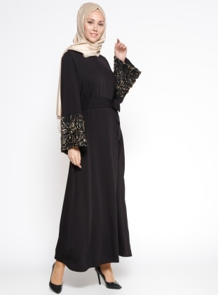Kol Detaylı Abaya - Siyah Gold
