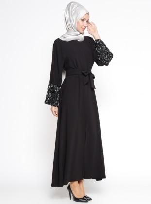 Kol Detaylı Abaya - Siyah Gümüş