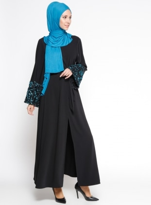 Kol Detaylı Abaya - Siyah Mavi