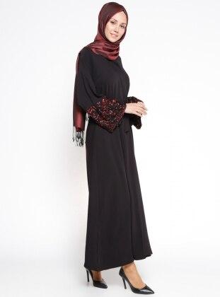 Kol Detaylı Abaya - Siyah Nar