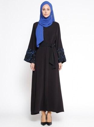 Kol Detaylı Abaya - Siyah Saks
