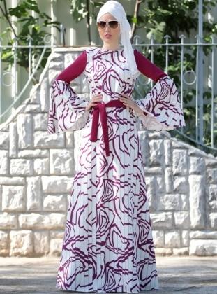 Pilise Görünümlü İlizyon Elbise - Mürdüm Ekru