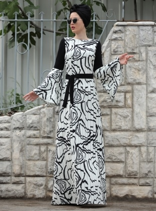 Selma Sarı Design Pilise Görünümlü İlizyon Elbise - Siyah Ekru