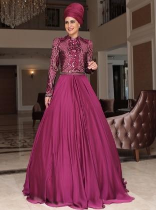 Sahra Abiye Elbise - Fuşya