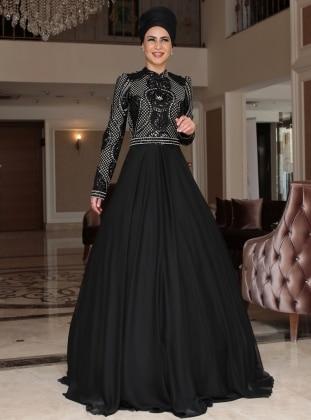 MİSS ZERA Sahra Abiye Elbise - Siyah
