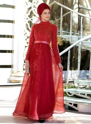 Üç Boyutlu İnci İşlemeli Abiye Elbise - Kırmızı Nilüfer Kamacıoğlu