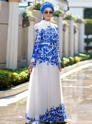 Yaprak Desenli Elbise - Mavi Beyaz