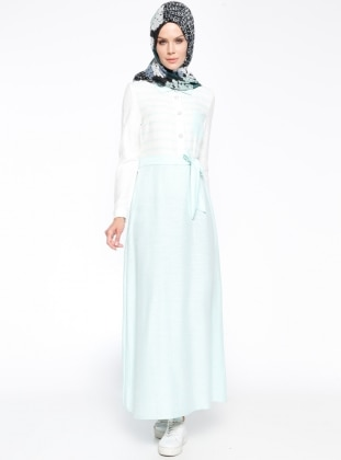 Nihan Çizgili Elbise - Mint