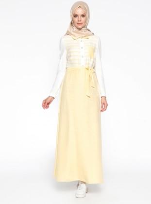 Çizgili Elbise - Sarı