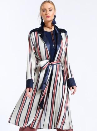 Shawl Collar - Unlined - Stripe - Beige - Brown - Topcoat