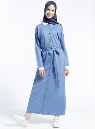 Düğmeli Elbise - Mavi