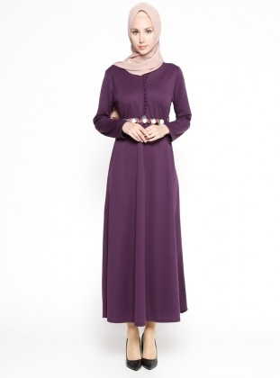Purple - Crew neck - Unlined - Dress - Dadali 299757