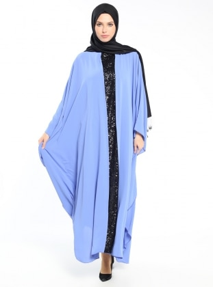 Payetli Ferace Elbise - Mavi Siyah