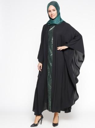 Payetli Ferace Elbise - Siyah Yeşil