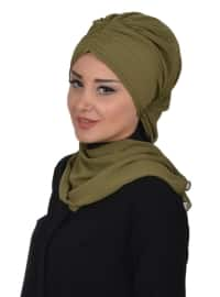 Green - Plain - Pinless - Chiffon - Instant Scarf