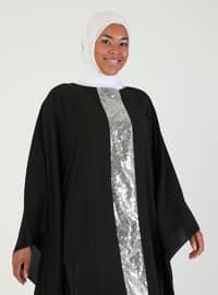 Black - Lamé - Silver tone - Crew neck - Unlined - Dress
