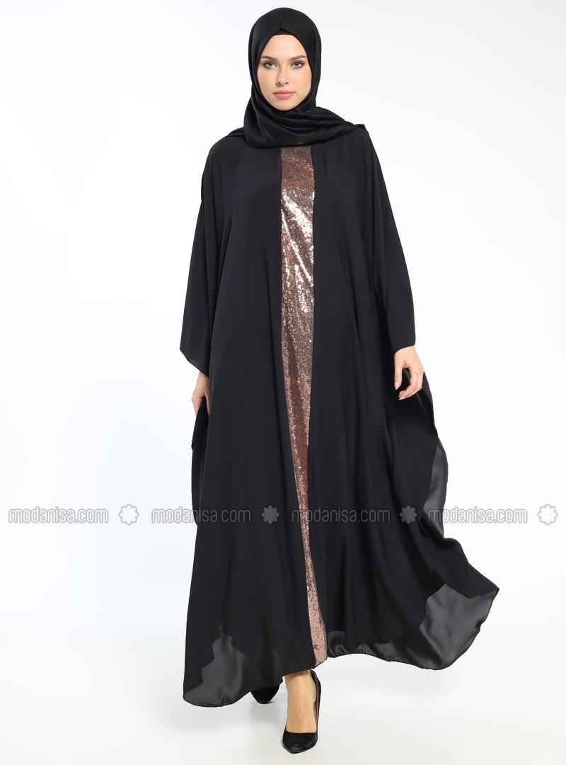 Black - Gold - Golden tone - Crew neck - Unlined - Dress
