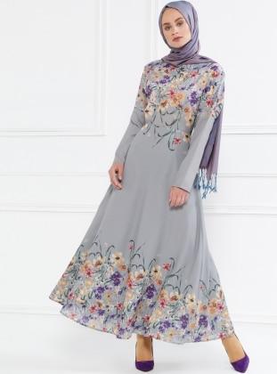 Floral Desenli Elbise - Gri