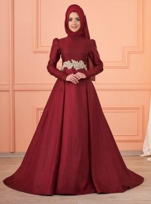 Lizi Beli Taşlı Abiye Elbise - Bordo