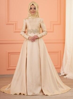 Lizi Beli Taşlı Abiye Elbise - Gold