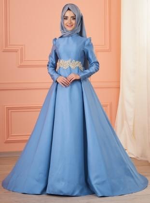 Lizi Beli Taşlı Abiye Elbise - İndigo