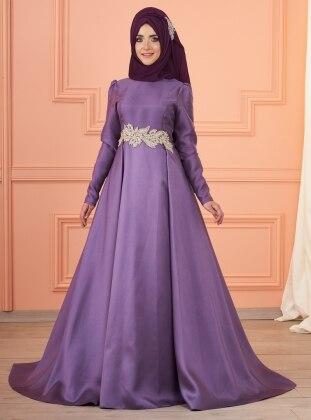 Lizi Beli Taşlı Abiye Elbise - Lila