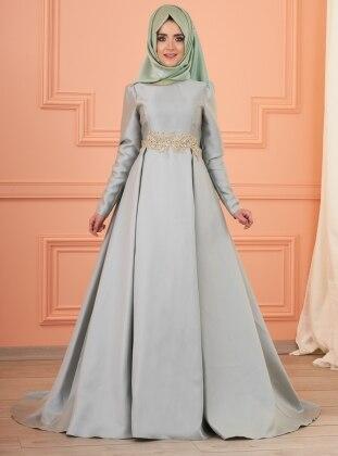 Lizi Beli Taşlı Abiye Elbise - Mint