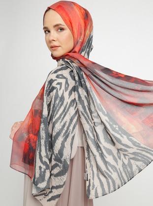 Red - Multi - Printed - Cotton - Shawl