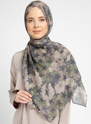Cotton - Printed - Khaki - Multi - Shawl - Şal