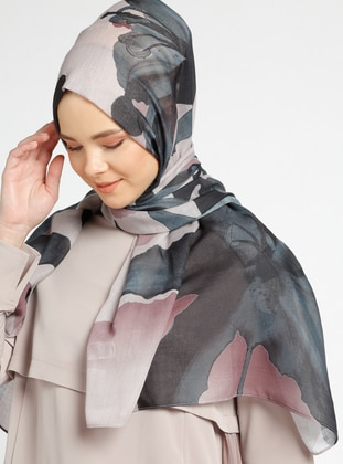 Black - Brown - Multi - Printed - Cotton - Shawl - Tuva Şal