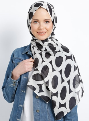 Black - Multi - Printed - Cotton - Shawl