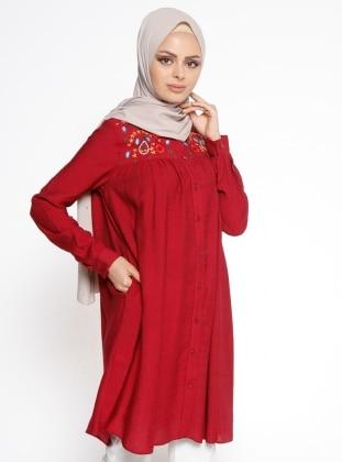 Nakış Detaylı Tunik - Kırmızı Belle Belemir