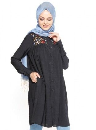 Nakış Detaylı Tunik - Siyah Belle Belemir