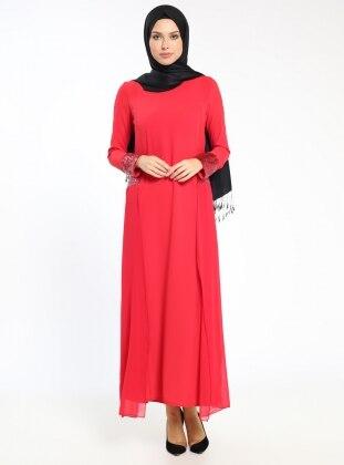 Payet Detaylı Elbise - Kırmızı
