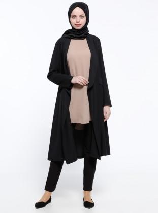 ModaNaz Şal Yaka Kap - Siyah