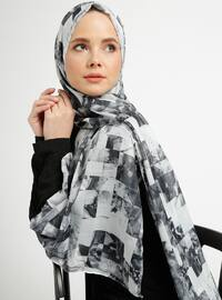 Gray - Multi - Printed - Cotton - Shawl