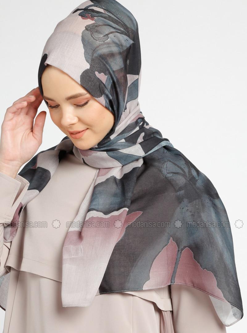 Black - Brown - Multi - Printed - Cotton - Shawl