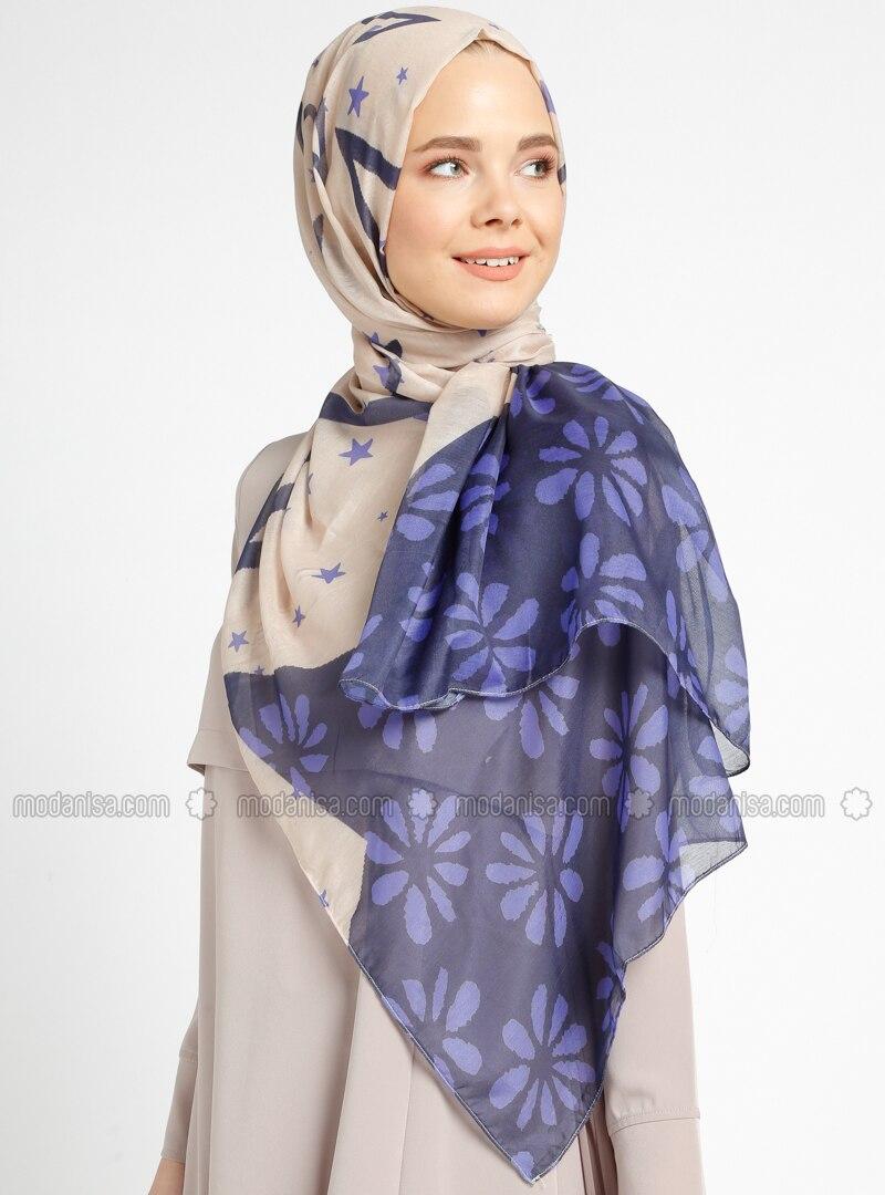 Purple - Multi - Printed - Cotton - Shawl