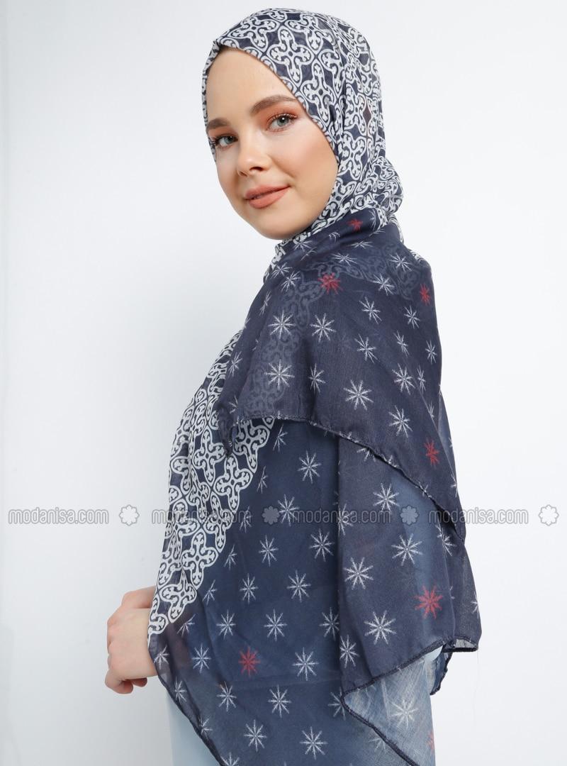Navy Blue - Multi - Printed - Cotton - Shawl