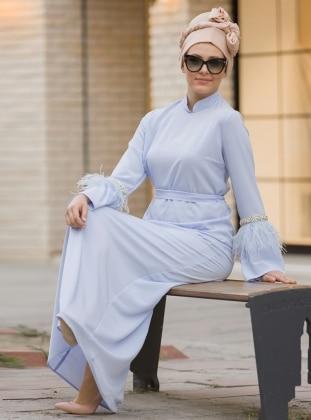 İnci ve Tüy Detaylı Elbise - Bebe Mavi