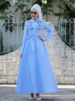 Selma Sarı Design Nakış İşlemeli Ebru Elbise - Bebe Mavi
