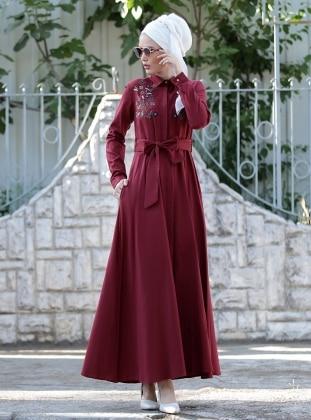 Nakış İşlemeli Ebru Elbise - Bordo