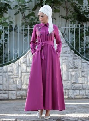 Nakış İşlemeli Ebru Elbise - Fuşya