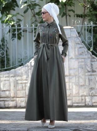 Nakış İşlemeli Ebru Elbise - Haki