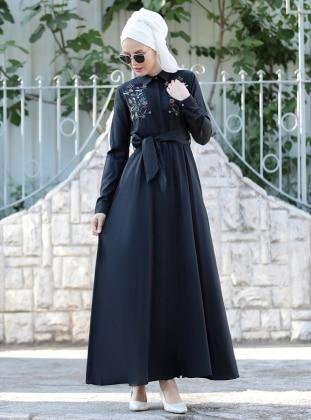 Nakış İşlemeli Ebru Elbise - Siyah