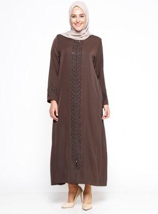 ModaNaz Fermuarlı Ferace - Kahverengi