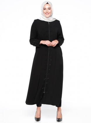 Black - Crew neck - Unlined - Plus Size Abaya - ModaNaz 300714