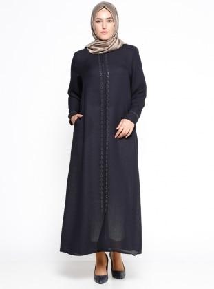 Black - Crew neck - Unlined - Plus Size Abaya - ModaNaz 300719