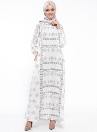 ModaNaz Gipeli Elbise - Ekru