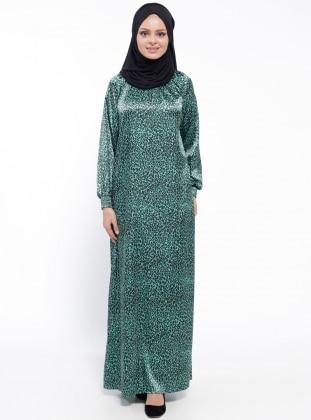 Gipeli Elbise - Yeşil Siyah ModaNaz